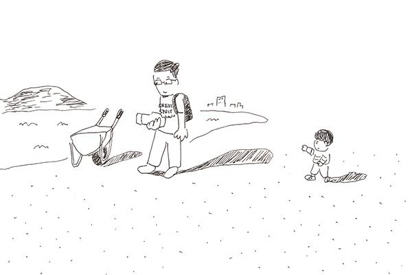 海と一輪車